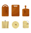 set of wooden cutting boards vector image