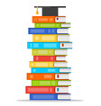 sheaf colorful books with square academic cap vector image