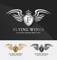 Shield and Wings logo template vector image vector image