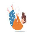 shocked elderly woman falling down on floor