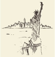 Sketch New York city skyline Statue Liberty drawn vector image vector image