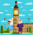 smiling old couple doing selfie in london vector image