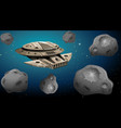 spaceship in asteroid scene vector image vector image