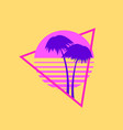 summer time 80s palm trees on a sunset retro vector image vector image