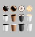 takeaway coffee mockup plastic paper cup vector image vector image