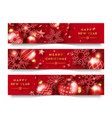 three christmas horizontal banners with shining vector image vector image