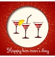 Three glasses on a red background vector image
