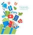 travel check list background luggage icons on vector image vector image