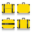 travel suitcase set in yellow vector image vector image