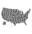 usa with alaska map composition of binary digits vector image
