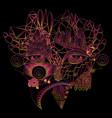 vivid fantastic image face girl steampunk style vector image