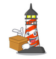 with box cartoon realistic red lighthouse building vector image