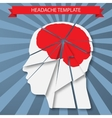 Headache Silhouette of human head with red brain vector image