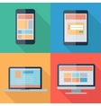 adaptive web design on electronic devices phone vector image
