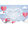 airplane flying over clouds and smoke hearts shape vector image vector image