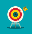 archery target arrow in centre of bullseye goal vector image vector image