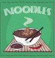 asian noodles naengmyeon or soba with chicken vector image vector image