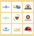 assembly flat icons nature logo bear lion giraffe vector image vector image