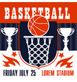 basketball game poster basket and ball vector image vector image