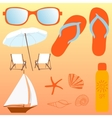 Beach set items for a holiday vector image vector image