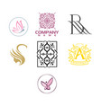 beauty and fashion luxury logo set vector image vector image