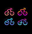 bike logos cycle linear colorful icon set vector image