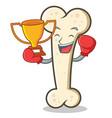 boxing bone character cartoon mascot vector image vector image