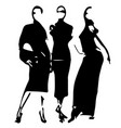 cartoon fashion models sketch hand drawn vector image