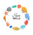 cartoon sea shells starfish coral and ocean vector image