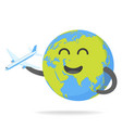 cheerful earth with plane vector image