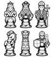 chess pieces set black and white vector image vector image