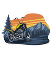 classic chopper motorcycle at nature vector image vector image
