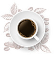 coffee time background with realistic cup and hand vector image vector image