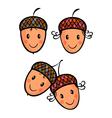 Cute cartoon acorns vector image