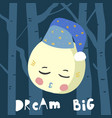 cute cartoon sleeping moon vector image vector image