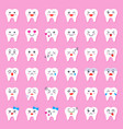 cute tooth cartoon emoticon set flat style vector image