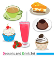 Desserts and drink vector image vector image