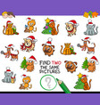 find identical pictures activity with xmas pets vector image vector image