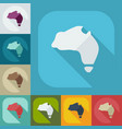 flat modern design with shadow icons map australia vector image vector image