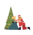 girl in santa claus costume packing gifts in sack vector image vector image