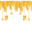 gold garland with bells and stars hanging vector image vector image