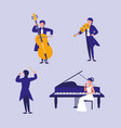 group of people playing instruments musical vector image vector image