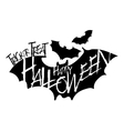 Halloween text on flying bat silhouette vector image