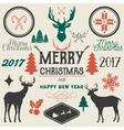 hand drawn Merry Christmas Happy New Year vector image