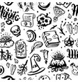 hand drawn of witch and magic vector image vector image
