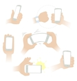 hands with a smartphone vector image vector image