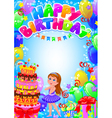happy birthday girl card with place for text vector image vector image