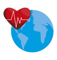 heart cardio with world planet earth vector image vector image