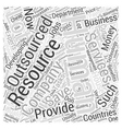 human resource outsourcing services Word Cloud vector image vector image