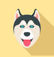 husky dog head icon flat style vector image vector image